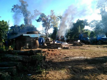 Bombed out KIA base in Mansi, after Tatmadaw had captured it., 18 January 2017. (PHOTO: Burmese Commander-in-Chief's Office)